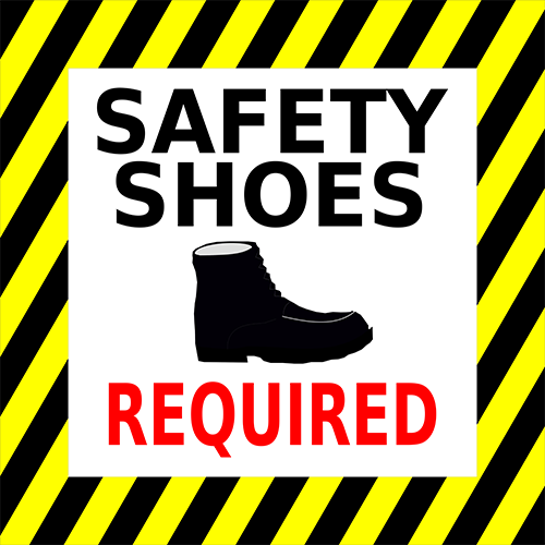Safety Shoes Required Floor Sign Industrial Floor Tape