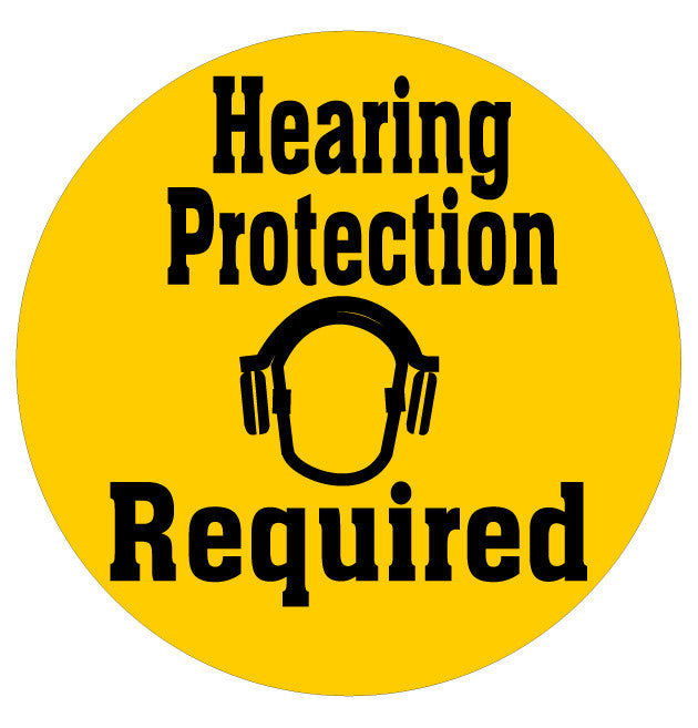 "24"" Hearing Protection Required Floor Sign"