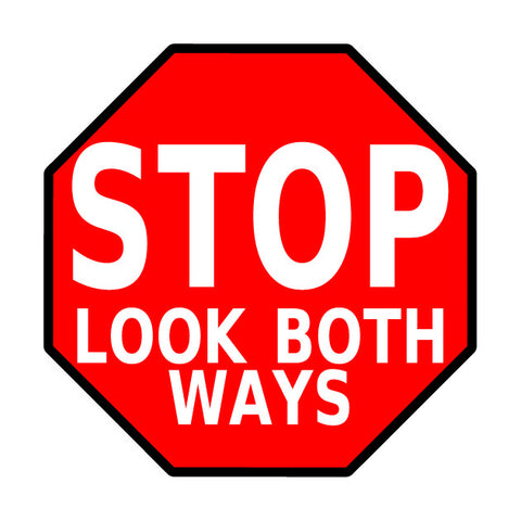 Stop Look Both Ways Floor Sign