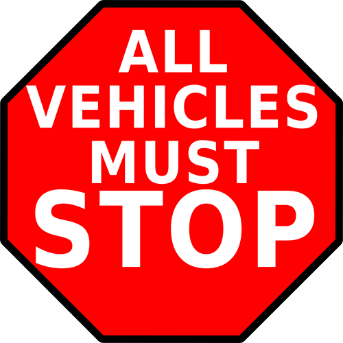 All Vehicles Must Stop Floor Sign