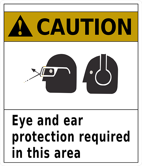 Caution Eye and Ear Protection Required In This Area Floor Sign