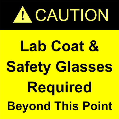 Caution Lab Coat & Safety Glasses Required Floor Sign