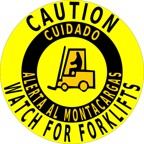 Caution Watch For Forklifts Bilingual Floor Sign