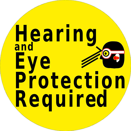 Hearing And Eye Protection Required Floor Sign
