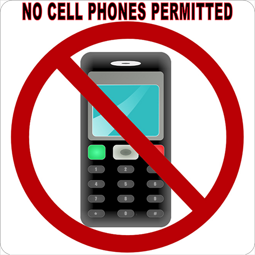 No Cell Phones Permitted Floor Sign