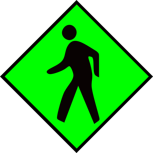Pedestrian Area (Green) Floor Sign