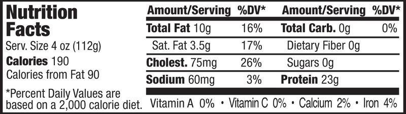 BONELESS THCK CUT PORK CHOPS - NUTRITIONAL FACTS PANEL