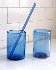 Blue Recycled Glass with Straw