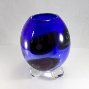 Scorza Blue Black Footed Vase - Lake Superior Art Glass