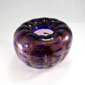 Scorza - Purple Blue Indent Bowl - Lake Superior Art Glass