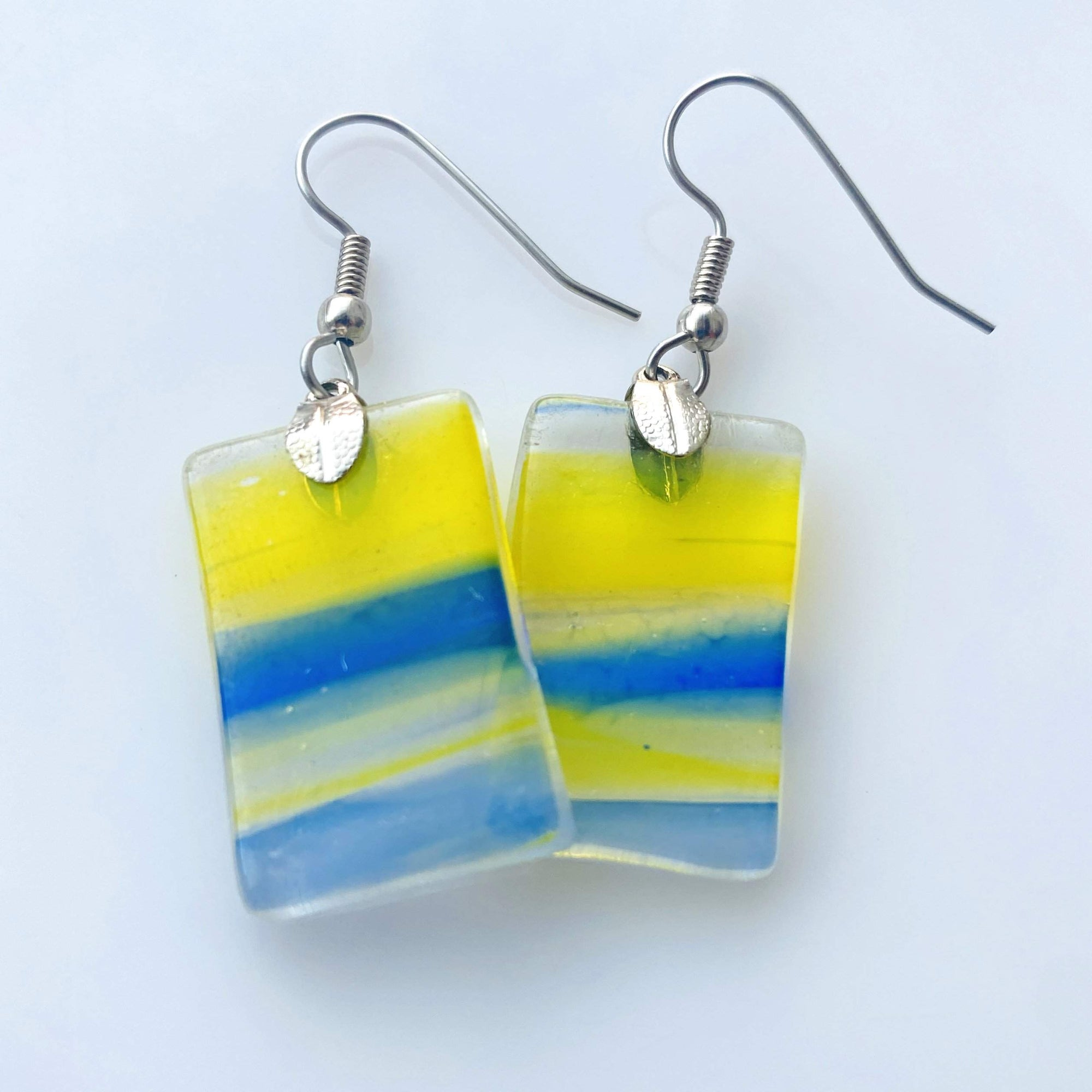 Upcycled Yellow and Blue Fused Glass Earrings