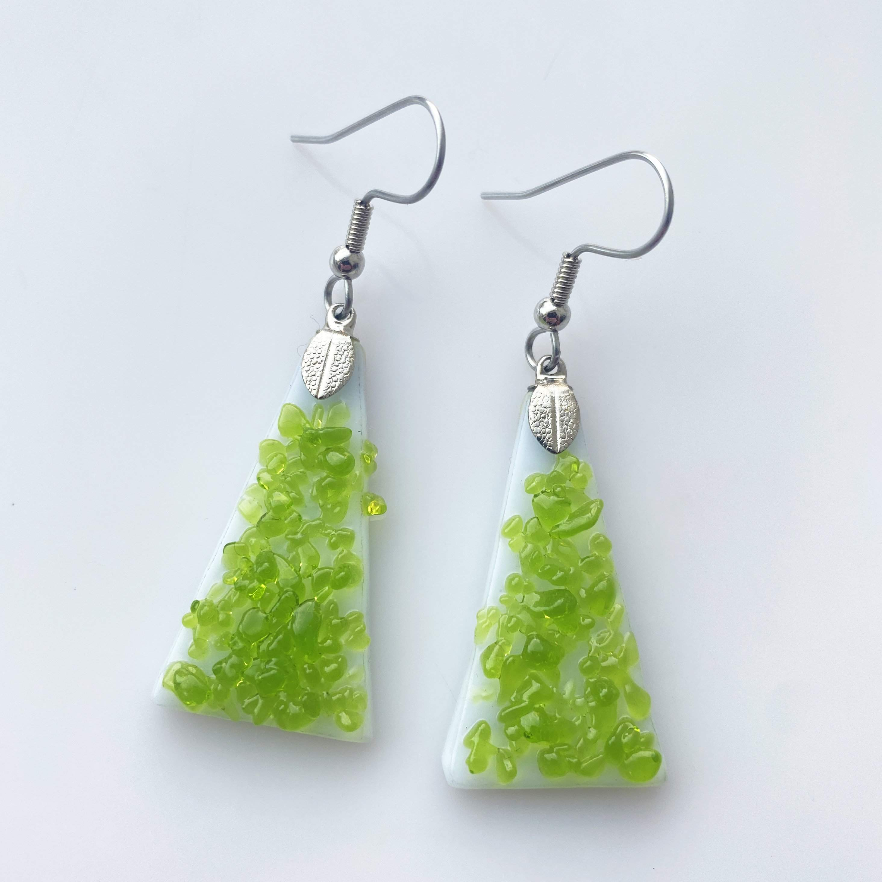 Upcycled White and Green Fused Glass Earrings