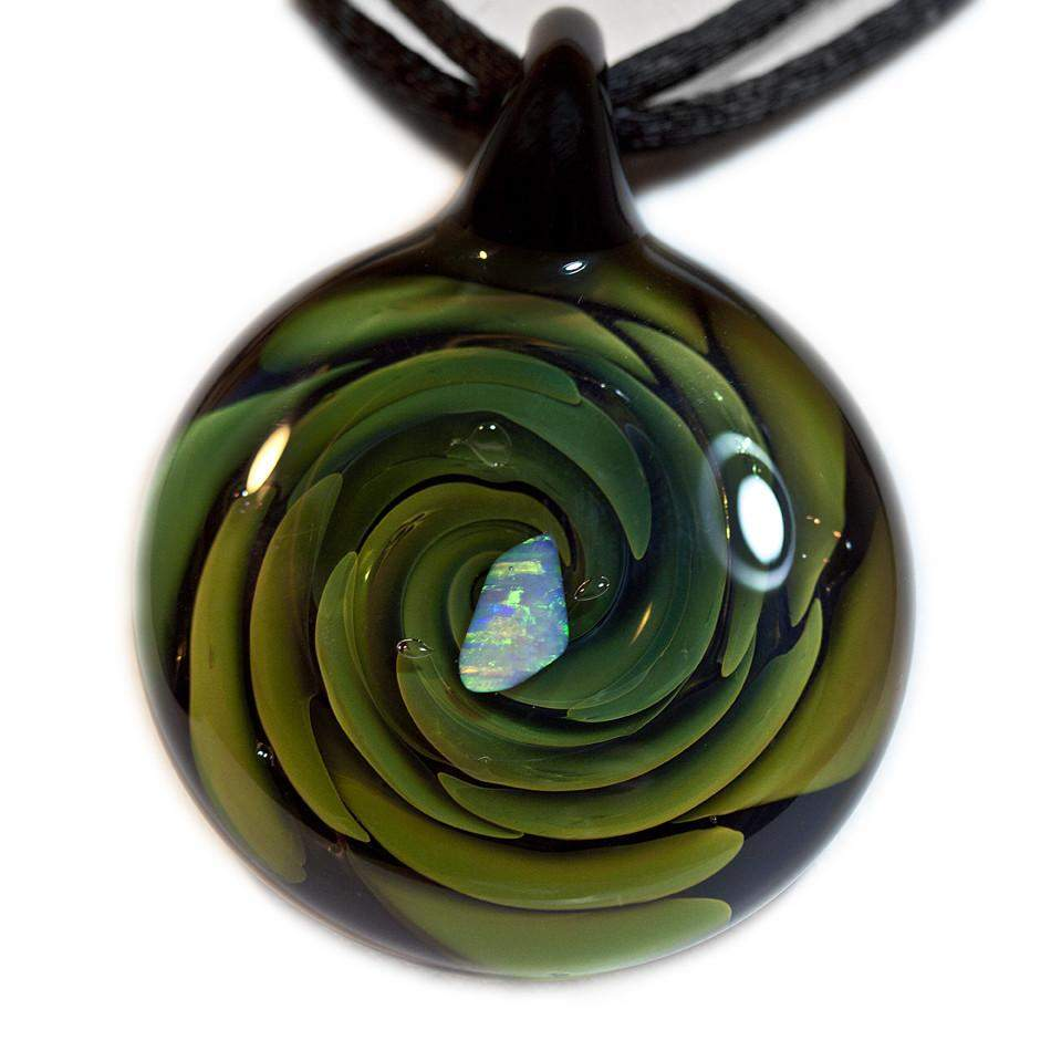Näf Glass Signature Pendant with Opal (Round) - Lake Superior Art Glass