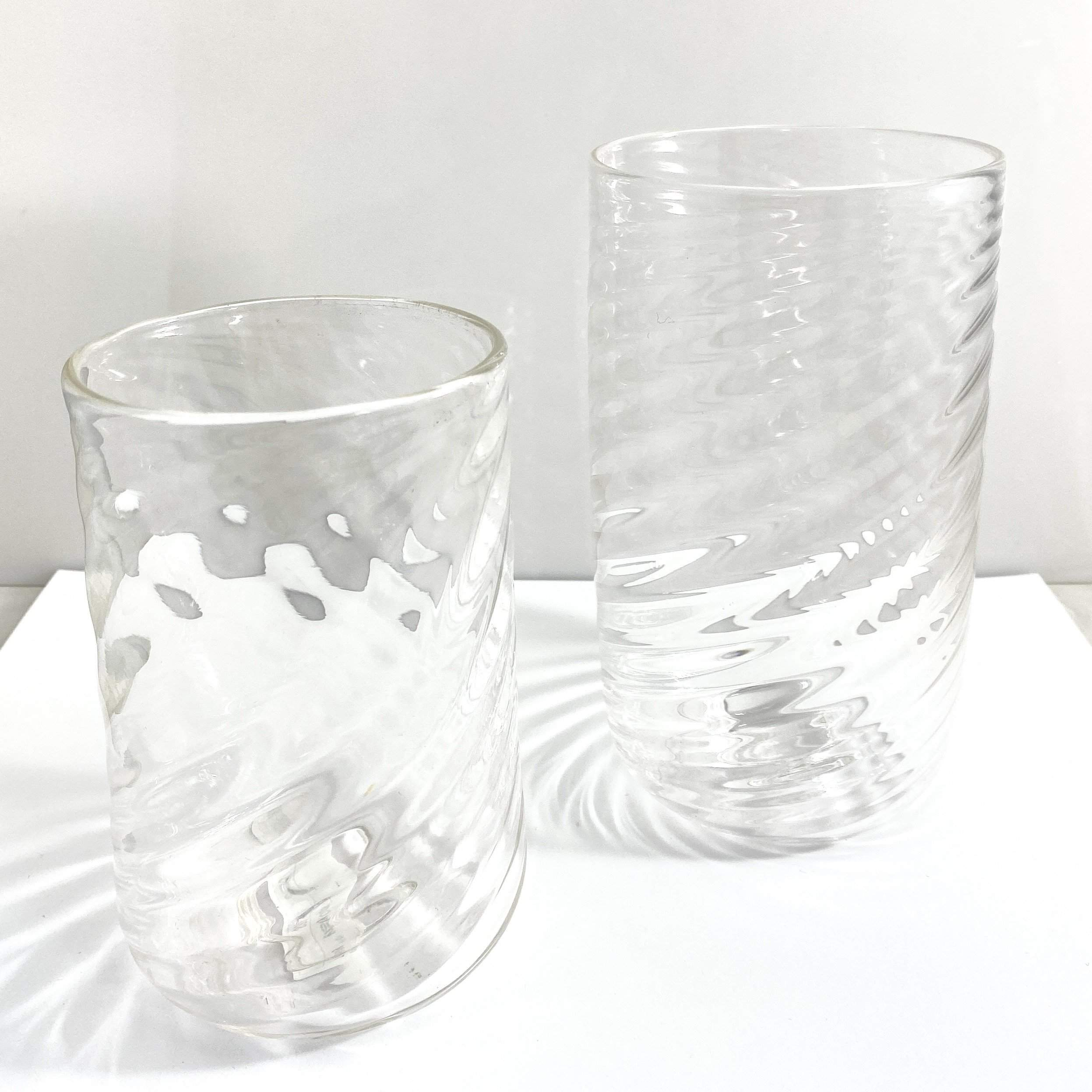 Clear Blown Glass with Twisted Optics Set