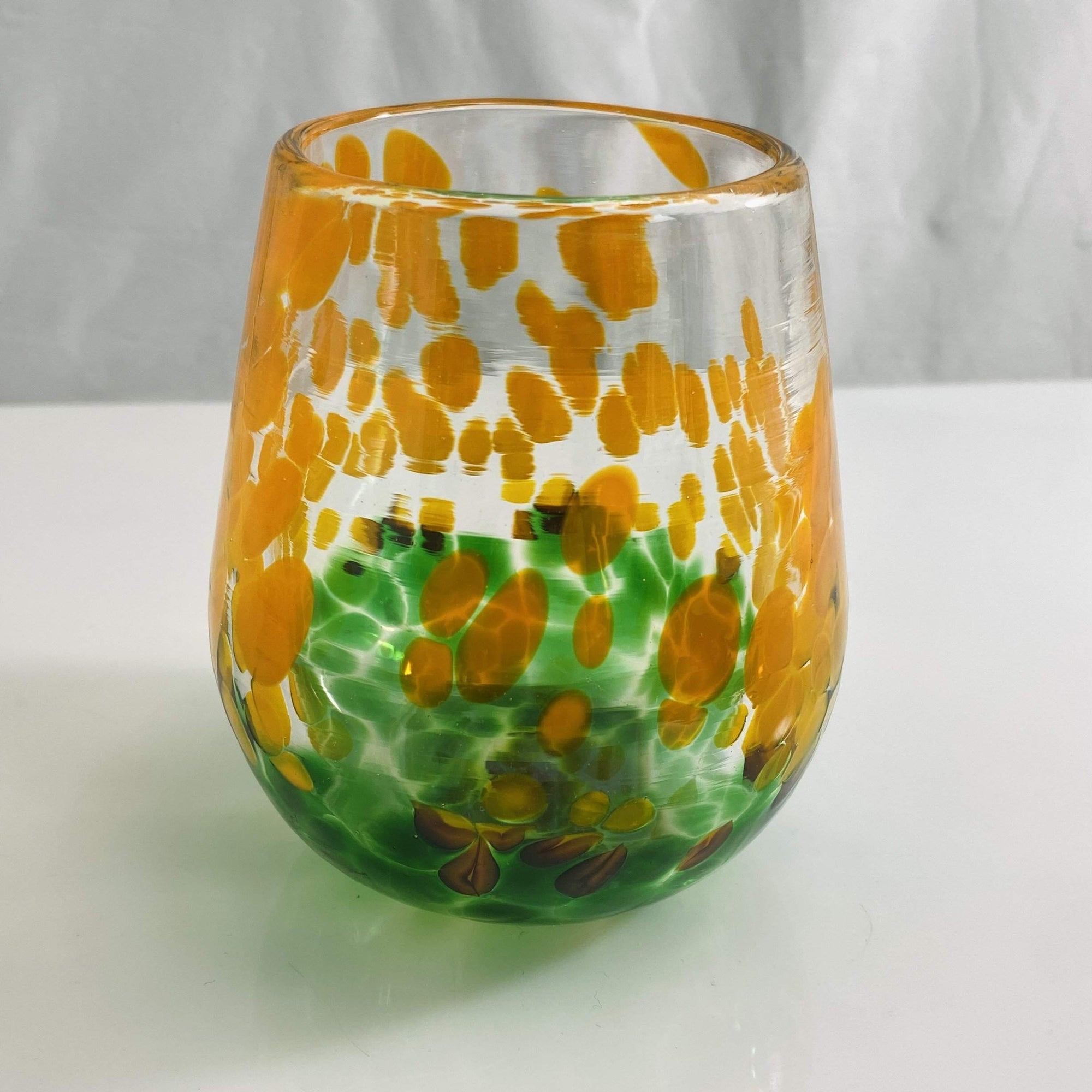 Green and Orange Stemless Wine Glass
