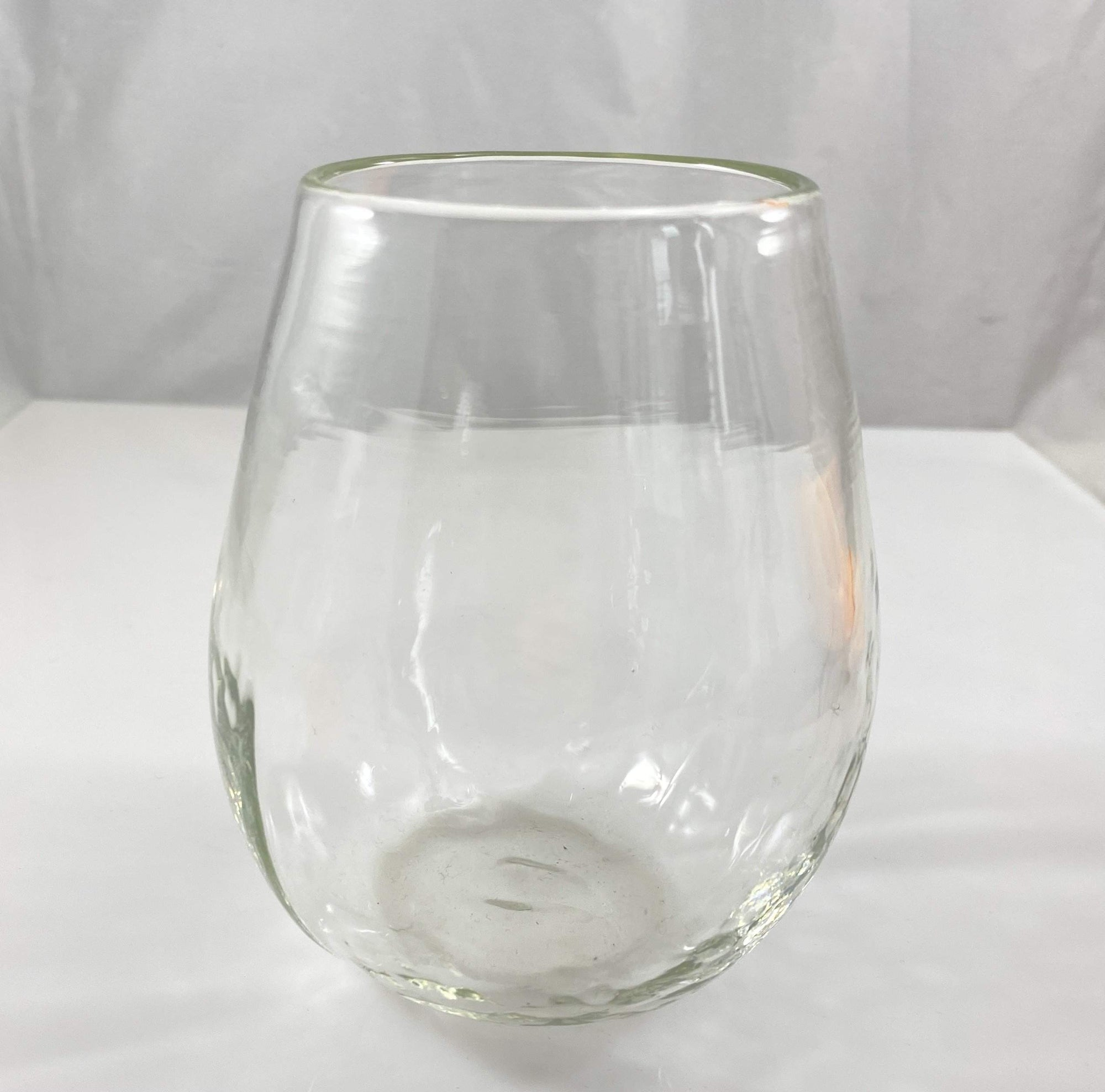 Clear Blown Stemless Wine Glass