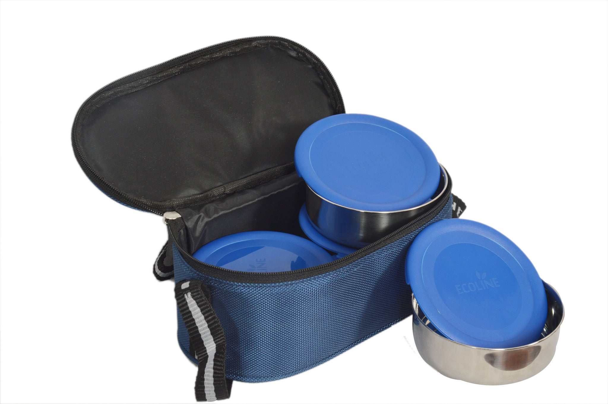 Ecoline Ezee Lunch 4 Stainless Steel Lunch Box with Leak-free Lids & Fabric Pouch