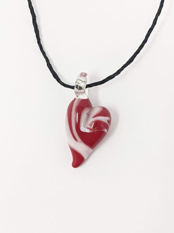Red and White Glass Heart Pendant