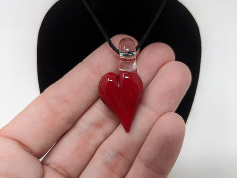 Handmade Cherry Glass Heart, Glass Heart Pendant, Heart charm, Glass Art