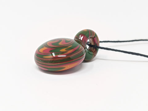 Rasta Necklace Wigwag Art Glass Pendant with Black Hemp Cord