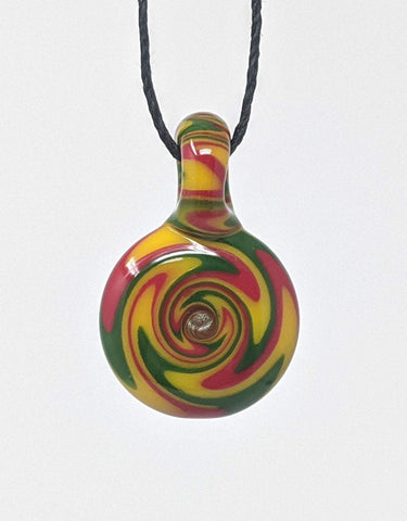 Green, Yellow, and Red Colored Glass Art Pendant Necklace with Wigwag Design
