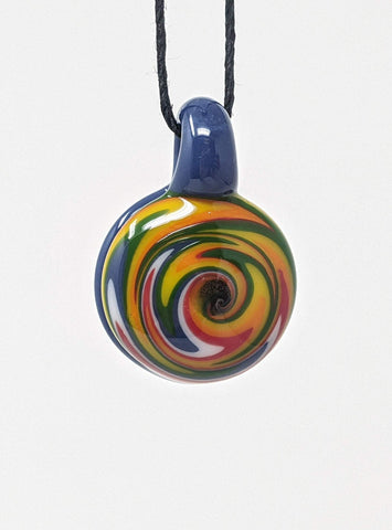 colorful wigwag glass pendant