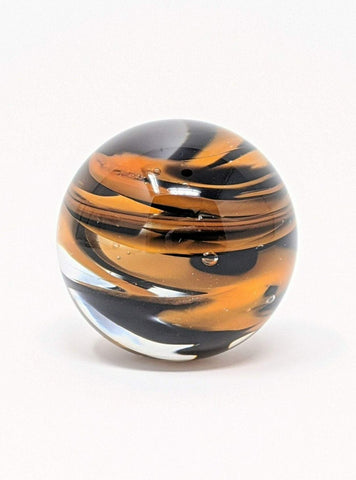 Black and orange glass chaos marble