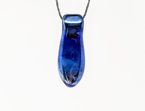 Milky Way Silver Fumed on Cobalt Blue Glass Art Pendant Necklace with Black Hemp Cord