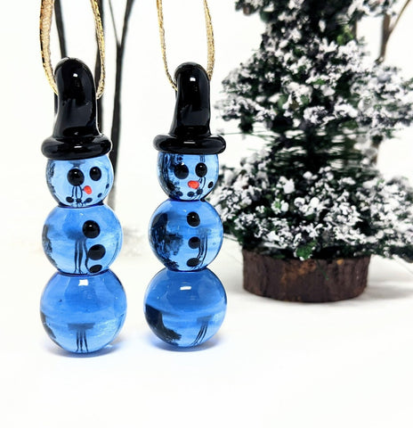 set of 2 glass snowman ornaments