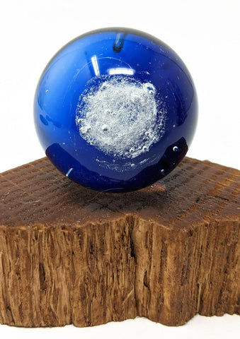 Daimoku glass marble with incense ash