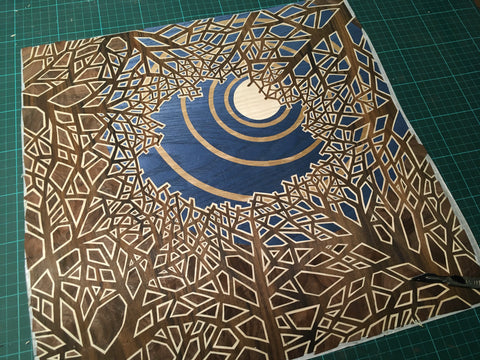intricate hand cut marquetry