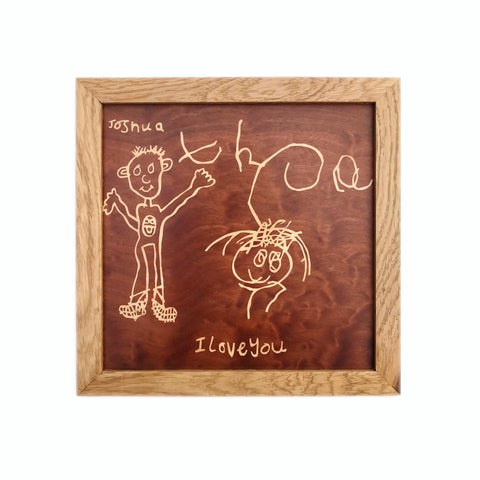kid's drawing marquetry wall hanging