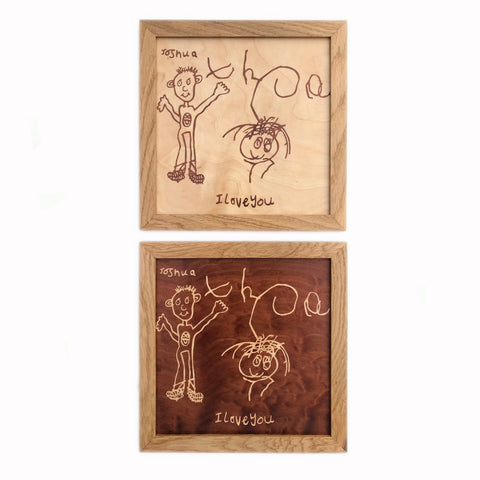 child's drawing marquetry wall art