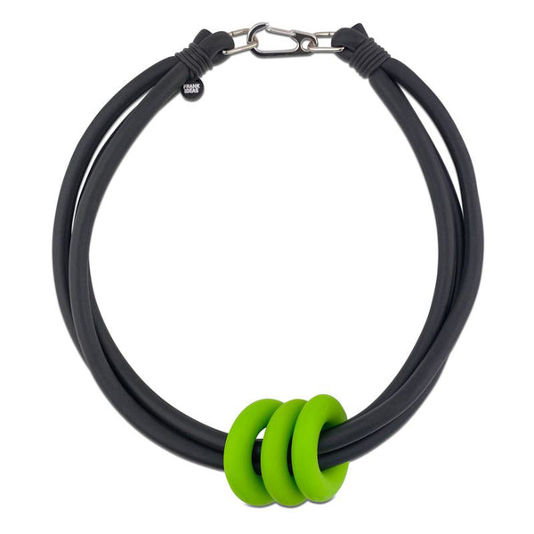 Frank Ideas Necklace, Triple Ring, Lime/Black