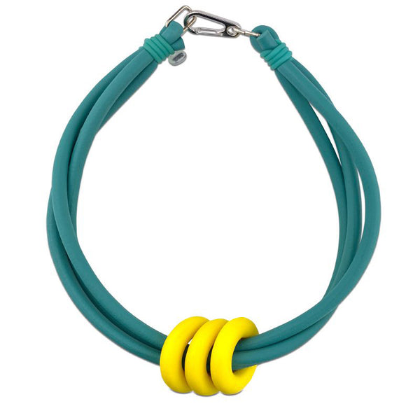 Frank Ideas Necklace, Triple Ring, Teal/Yellow
