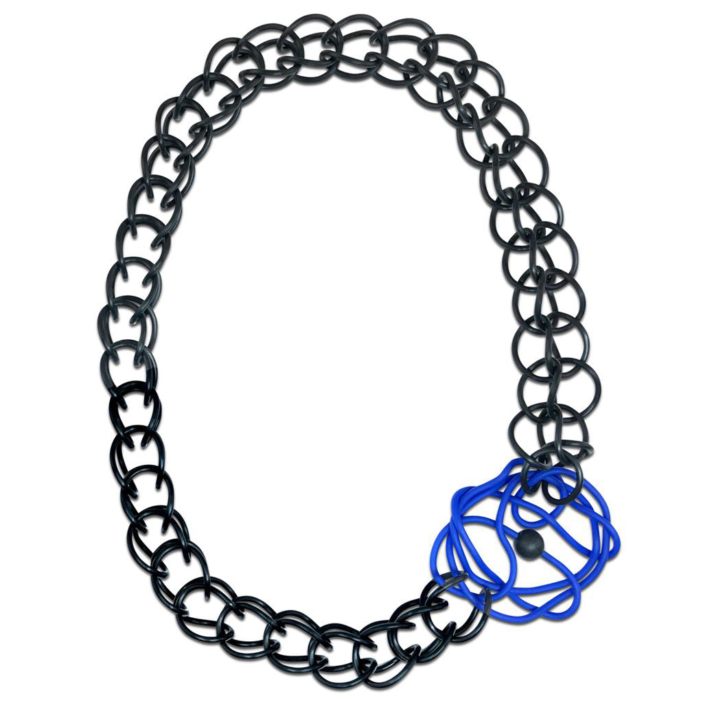 Frank Ideas Necklace, Ranunculus, Royal Blue/Black