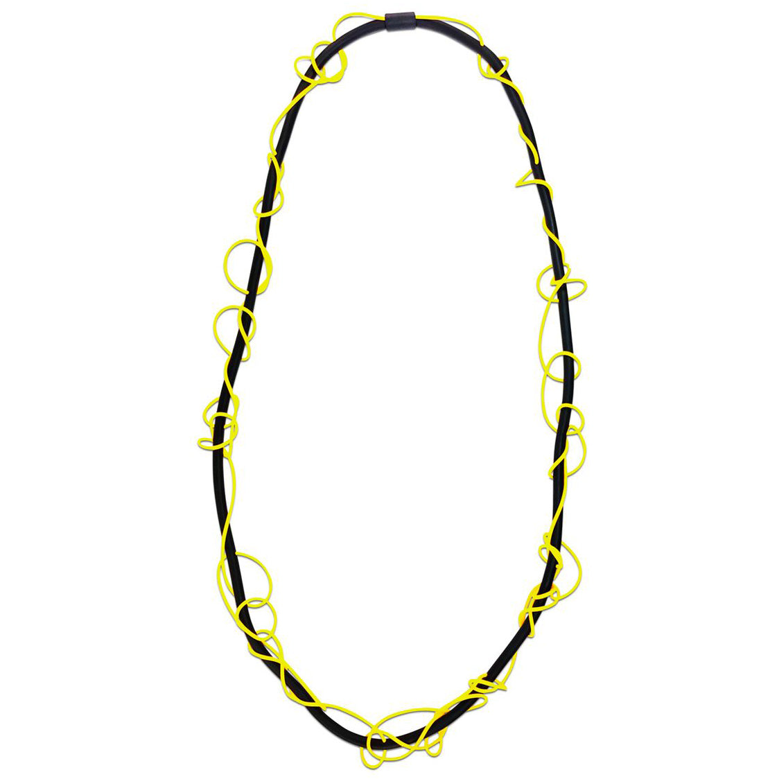 Frank Ideas Necklace, Scribble, Yellow/Black