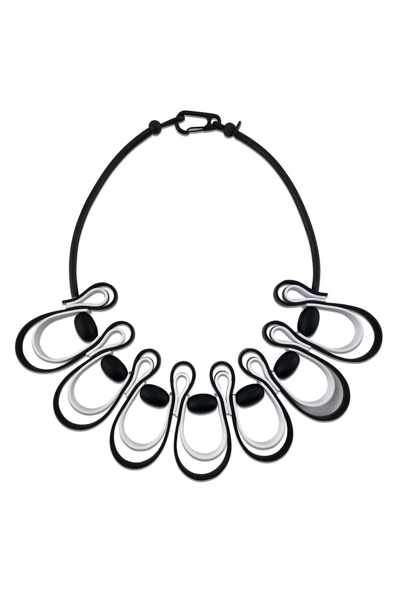Frank Ideas Necklace, Dynamic Squiggle, Grey/Black