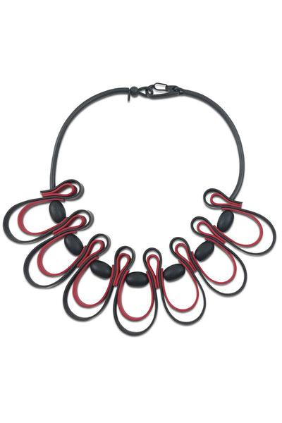 Frank Ideas Necklace, Dynamic Squiggle, Red/Black