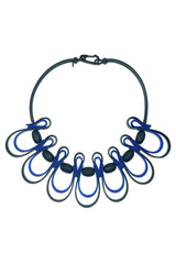 Frank Ideas Necklace, Dynamic Squiggle, Royal Blue/Black