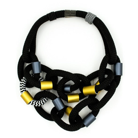 Christina Brampti Necklace, Black/Silver/Gold