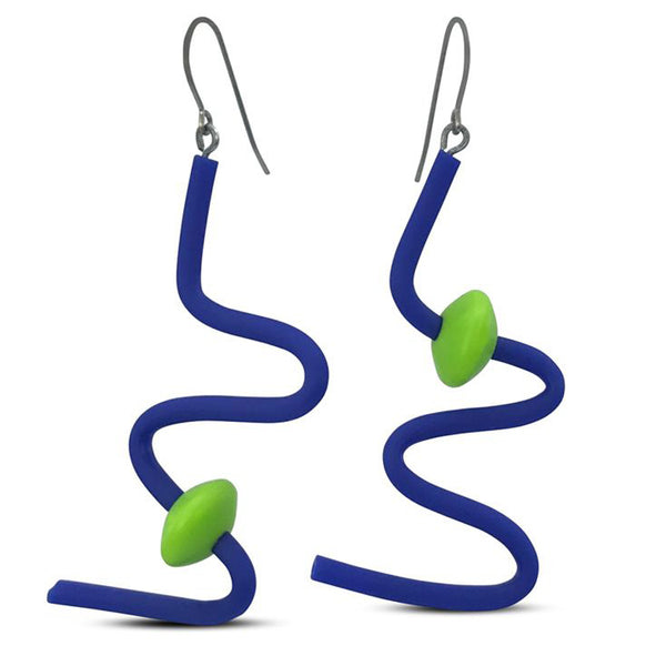 Frank Ideas Earrings, Squiggle, Royal Blue/Lime