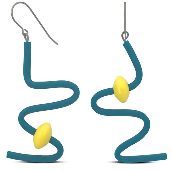 Frank Ideas Earrings, Squiggle, Turquoise/Yellow