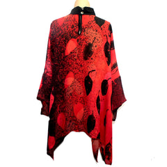 Catherine Bacon Hand Painted Tunic, Butterfly, Red/Black, OS