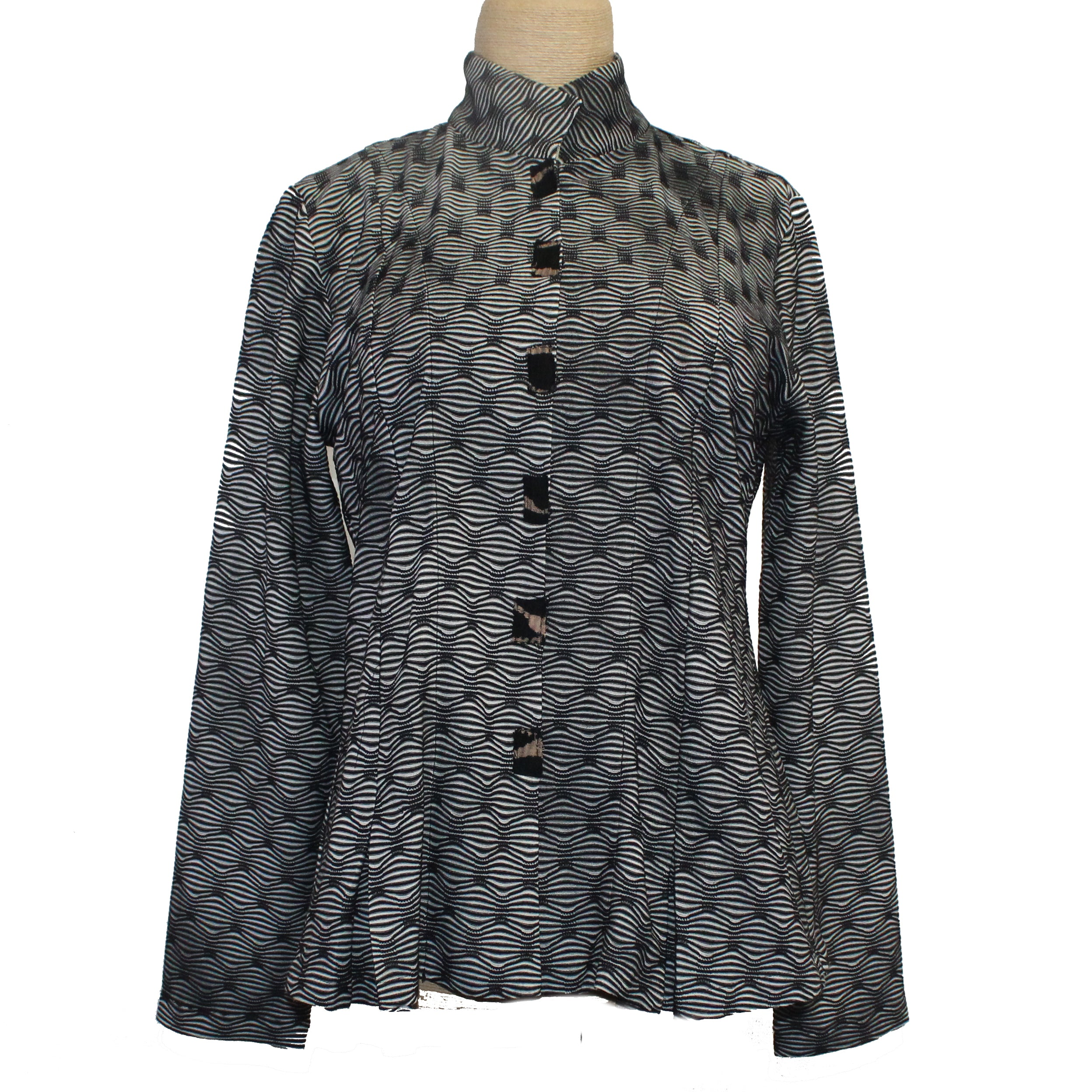 Deborah Cross Shirt, Black/White Wave, XS