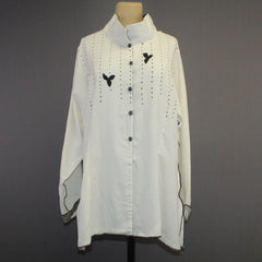 Deborah Cross Shirt, Cream/Black, L