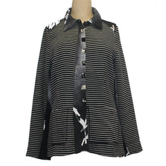 Deborah Cross Shirt, Black/White, S