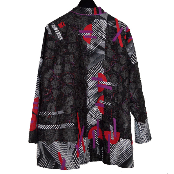 Diane Prekup Jacket, Saturday, Black, Red and Plum, M/L