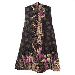 Diane Prekup Grace Vest, Sheer Black/Tribal Pattern/Fuchsia, XS
