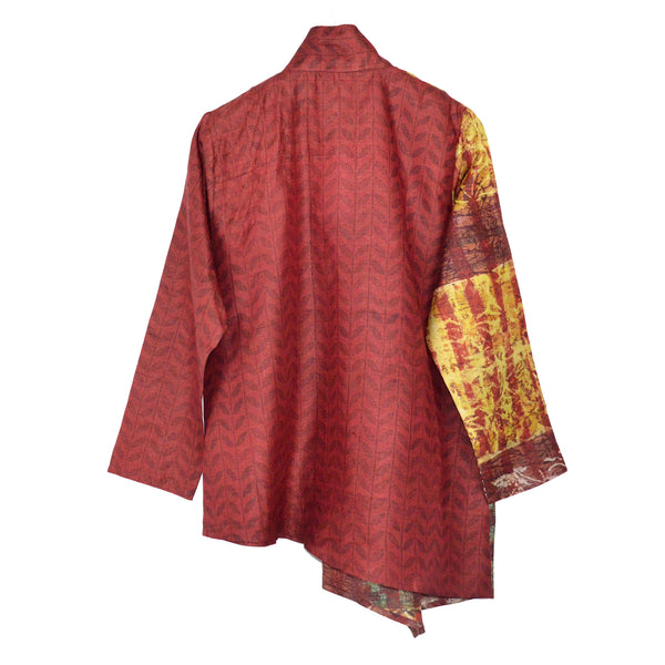 Darshan Shah Tunic, Asymmetrical, Red and Yellow